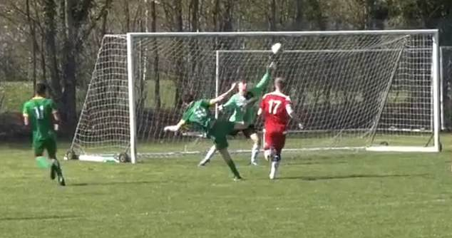 Finn (No 10) is seen scoring a goal while playing for Cambridge Celts in the video shared by manager Mr Mitham