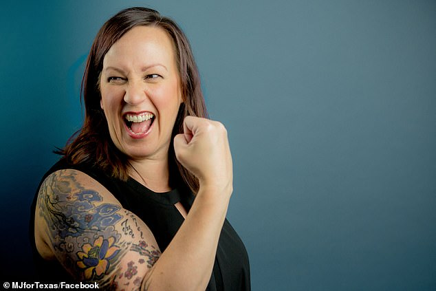 He is being challenged for his seat by MJ Hegar, whose tattoos cover up shrapnel wounds