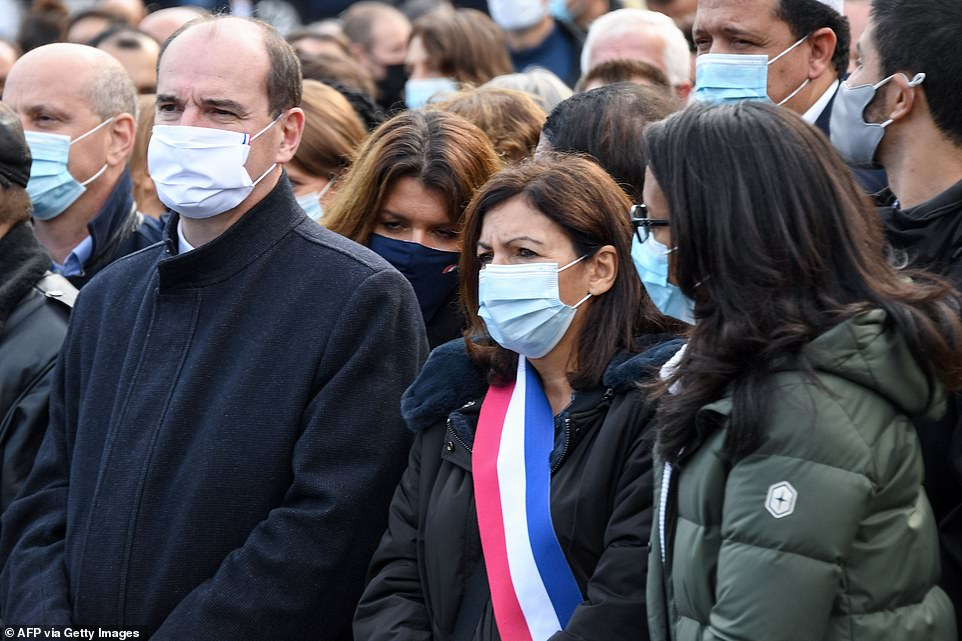 The thousands of demonstrators in central Paris were joined by French Prime Minister Jean Castex (left), Mayor of Paris Anne Hidalgo (centre) and Paris deputy mayor Audrey Pulvar (right)