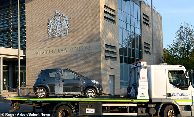 The car in the trial was brought to Salisbury Crown Court today as jurors continued to listen to evidence in the trial