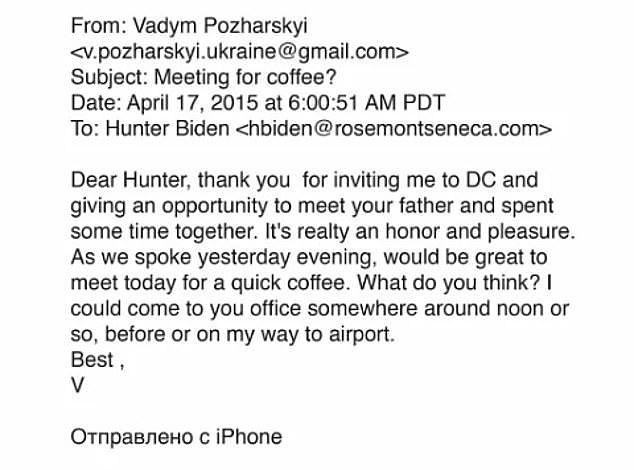 The potentially most explosive part of the story is a 2015 email (pictured) supposedly sent by a top Burisma adviser, Vadym Pozharskyi, thanking Hunter for giving him the chance to meet his dad Joe while he was Vice-President