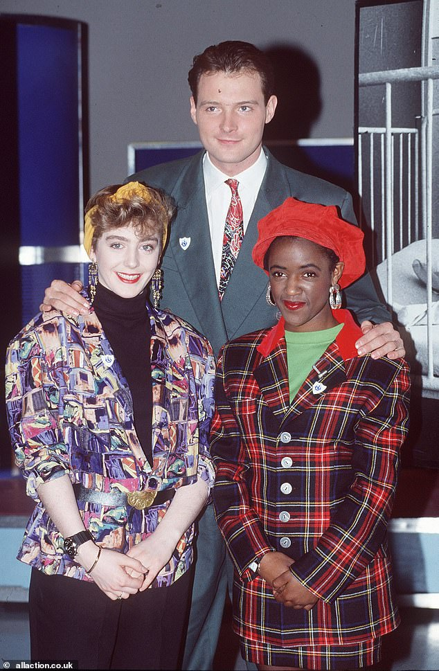 Televison presenter John Leslie pictured with Yvette Fielding and Holly Johnson