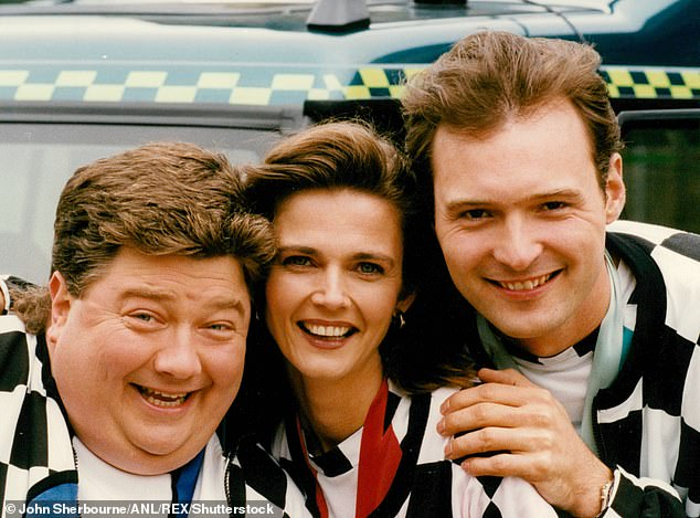 John Leslie (on the right) with his fellow Blue Peter presenters Jonathan Coleman and Annabel Giles