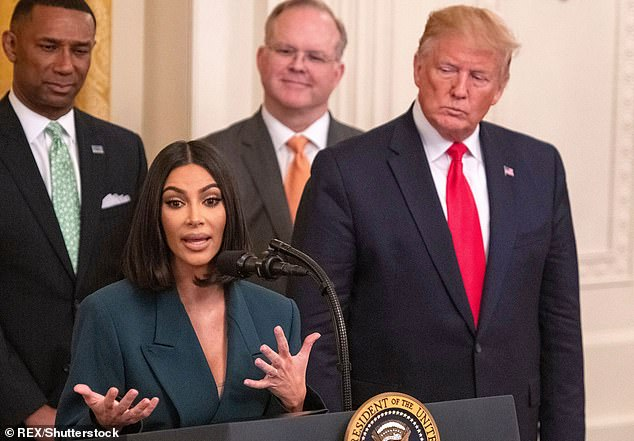 Despite being repeatedly grilled on her relationship with Trump by Letterman, Kardashian would only say that she is 'extremely grateful' for the work of the Trump administration regarding criminal justice reform. They are pictured in 2019