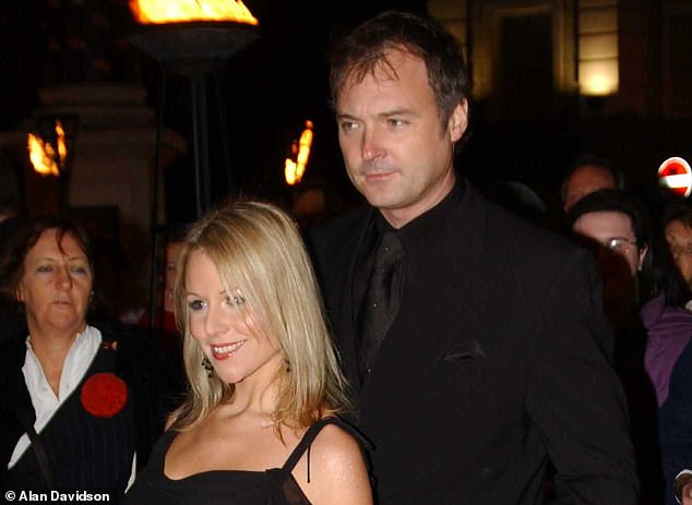 It was on the exact same spot, 17 years ago, that the former Blue Peter and This Morning presenter stood after a previous indecent assault case against him was dropped. On that occasion, in July 2003, Leslie stood arm in arm with his then girlfriend, former nurse Abi Titmuss, after being told he could leave the court 'without a stain on his character'. The pair are pictured together above