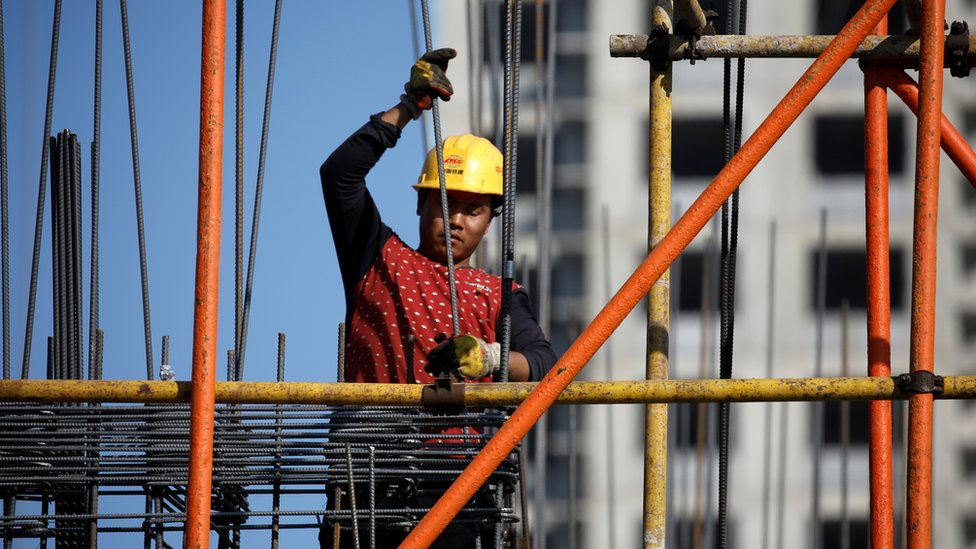 A construction worker from China