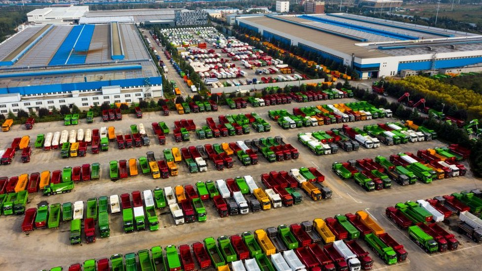 Heavy vehicles at a plant in China