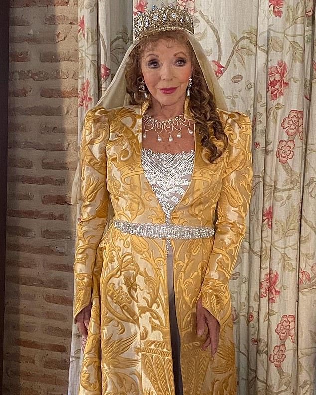 Dame Joan Collins, 87, will find herself in period costume as she is appearing alongside Jane Seymour in an upcoming series Glow and Darkness, about the life of St Francis of Assisi
