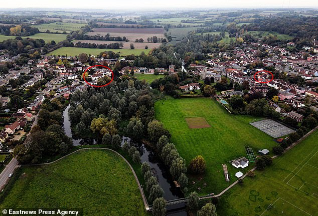 Those living in the Essex half (left) of the village are now no longer able to meet for a drink with other households, while those on the Suffolk side (right) can, providing they stick to the government's rule of six
