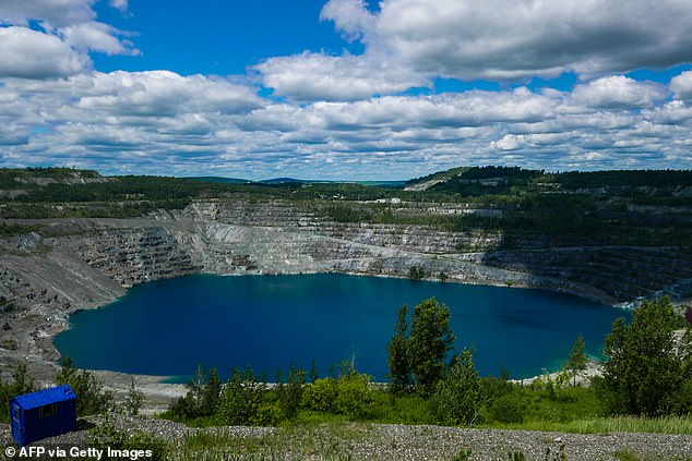 This photo taken on July 21 2020, shows what's left of the Jeffrey mine in Asbestos, Quebec.The open-pit mine was first opened in 1849 and was once the largest employer in the region, employing more than 2,000 people