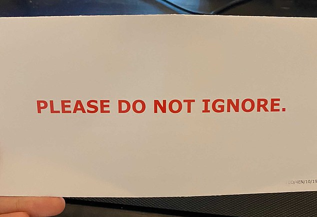 The outside of the letter, reading 'please do not ignore' in red capital letters, in a picture posted to social media by engineer Britney, 28, from Glasgow
