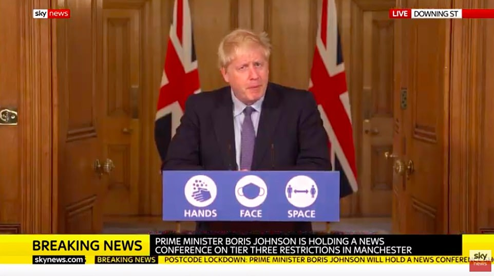 Boris Johnson today announced that he is imposing Tier Three coronavirus restrictions on the Greater Manchester region despite failing to reach an agreement with local political leaders