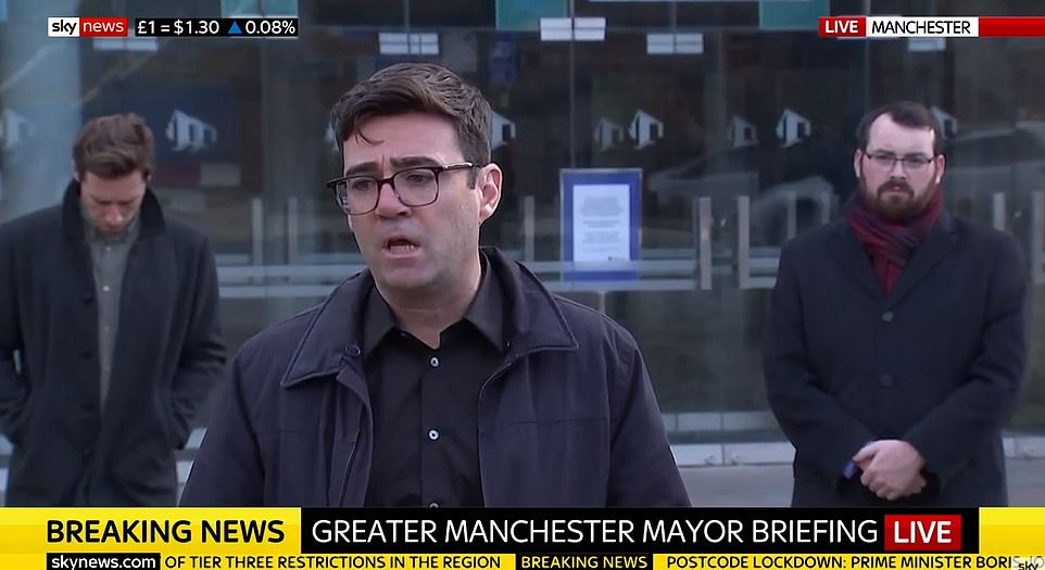 Mr Burnham (pictured at a press conference today) demanded £65million in business support and there was no breakthrough in the row