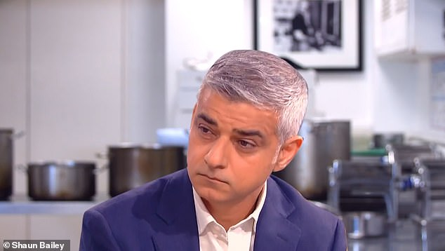 Clips of Khan, 50, in City Hall have been doctored into the campaign video, with Khan appearing to shake his head as the judges berating his 'poor performance as Mayor'