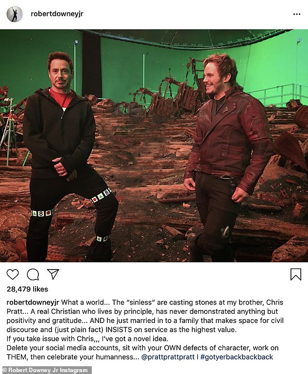 In defense: Downey defended Pratt's character amid the controversy