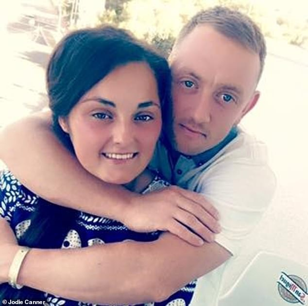 Jodie who once had to stay at the Brittons while her mother worked nights, said Paul told her he couldn't wait until she turned 16. Pictured:Jodie Canner and her partner Ryan who has been an incredible support to her