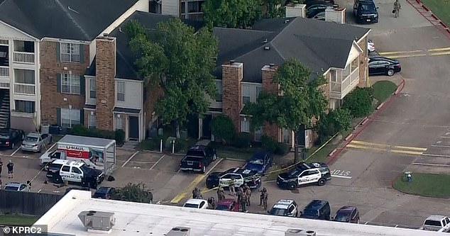 The shootings occurred at the Richmond Manor apartments (pictured) in the 2600 block of Holly Hall