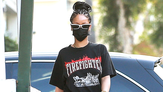 Rihanna Enjoys Rare Outing To Grocery Store In Wild, Red Flare Pants & Vintage Tee — See Pic