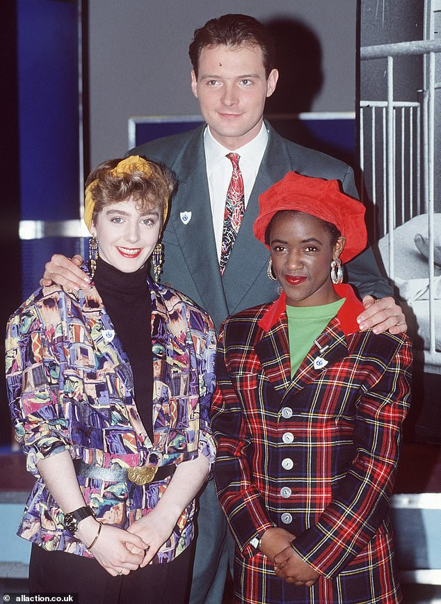 Television presenter John Leslie pictured with Yvette Fielding and Holly Johnson