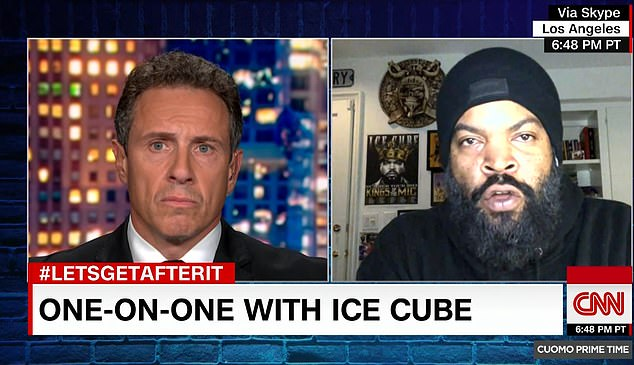 Last week, Ice Cube defended his decision to work with Donald Trump on a plan for black Americans, insisting he is 'working with whoever is in power' and that he is 'not on nobody's team' during an interview with CNN's Chris Cuomo