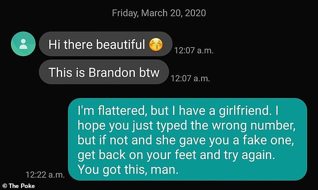 Another individual reassured the wrong number who texted them, that they would be able to find someone else