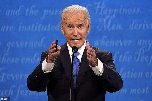 If this election is purely about who's a nicer guy, Biden's a clear undeniable winner. Biden is pictured at the debate