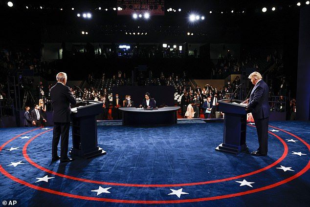 I thought Biden had a good debate, certainly by his standards. It was a solid performance. But nor did he say anything refreshingly new that screamed 'VOTE FOR ME!' His was more a 90-minute message of 'DON'T VOTE FOR TRUMP!' Pictured are both candidates on stage at the debate