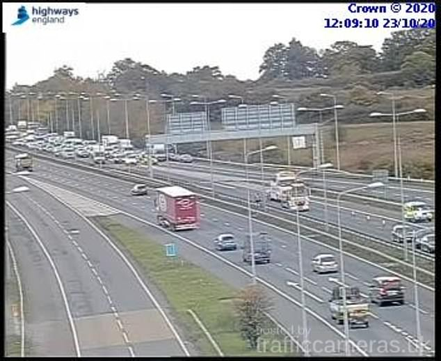 Traffic cameras showed the queues of traffic caused by the motorway lorry crash
