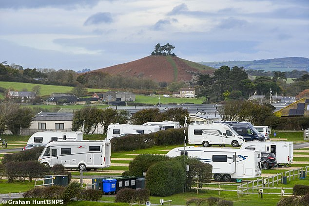 The camping field at Highlands End Holiday Park at Eype near Bridport in Dorset this afternoon