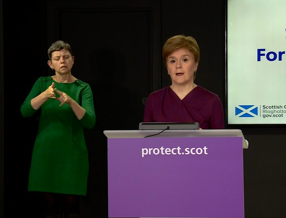 The First Minister joked that her national clinical director Professor Jason Leitch would be portrayed as the Grinch on newspaper front pages after he said families should prepare to see loved ones over Zoom because of coronavirus