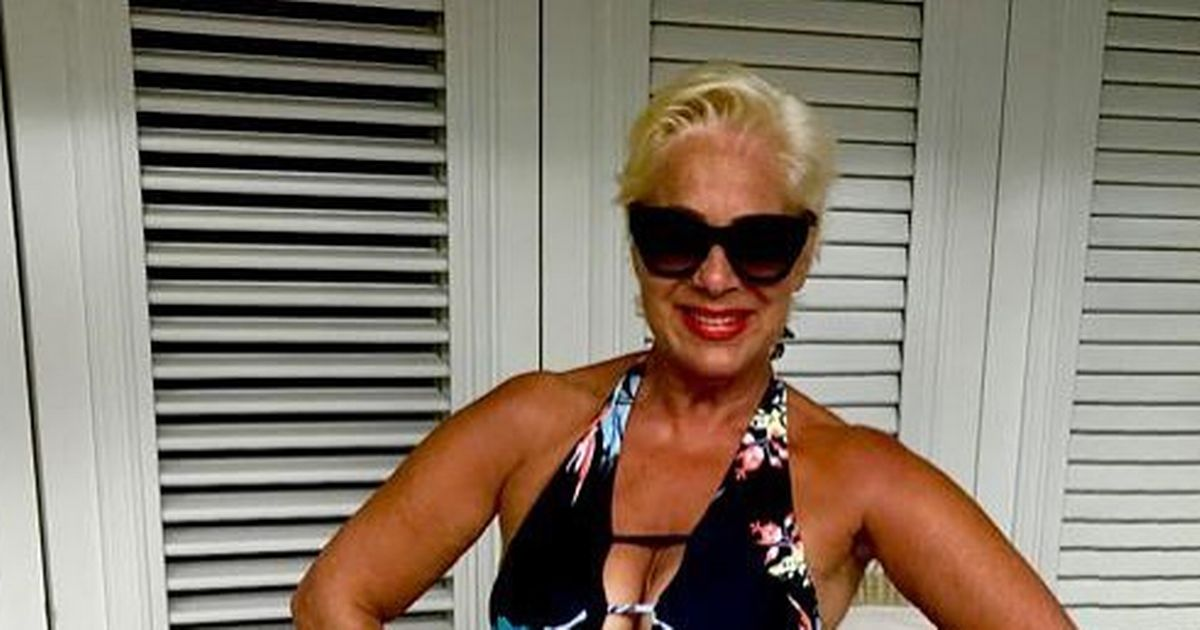 Denise Welch, 62, shows off ageless figure and perfect pins in plunging swimsuit