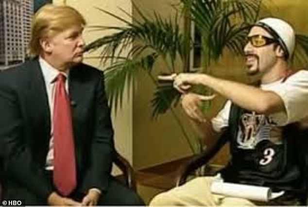 History:Trump has had a long-standing feud with Sacha ever since the comedian interviewed the president during an episode of HBO's Da Ali G Show in 2003 (pictured)