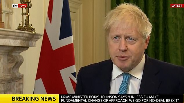 Mr Johnson told the EU to 'come to us' when it was ready to compromise on the terms of a post-Brexit trade deal as he said the UK would step up preparations for a disorderly split