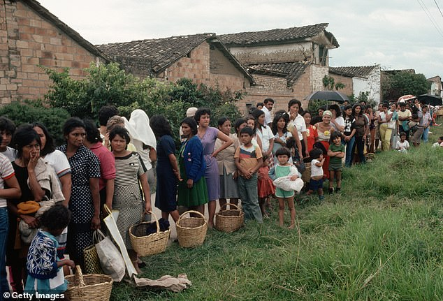 Britain's Foreign, Commonwealth and Development Office has banned sexual relationships between staff and those receiving aid (file photo of victims of the 1983 earthquake in Popayan, Columbia)