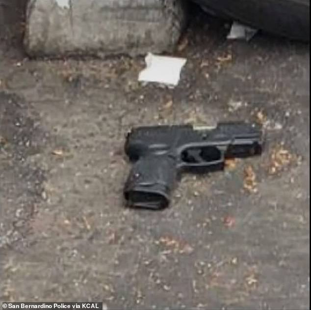 Police released this image of a gun they said Bender was armed with. Police said Bender had a long rap sheet but it is not clear if the cop recognised Bender