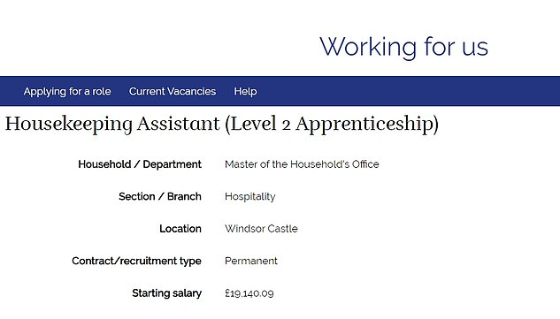 The job advert, which was shared online this week, is based at Windsor Castle with a salary of £19,140