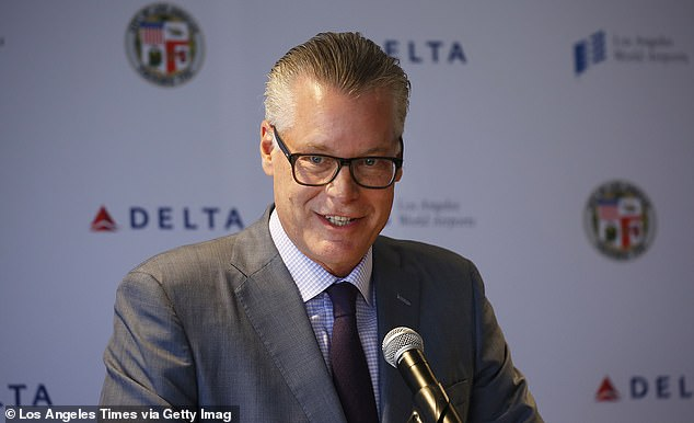 Delta Air Lines CEO Ed Bastian (pictured): 'We remind them several times over the course of getting ready to take off to please keep that mask on. But if they insist upon not wearing it — we insist that they're not going to travel on Delta today'