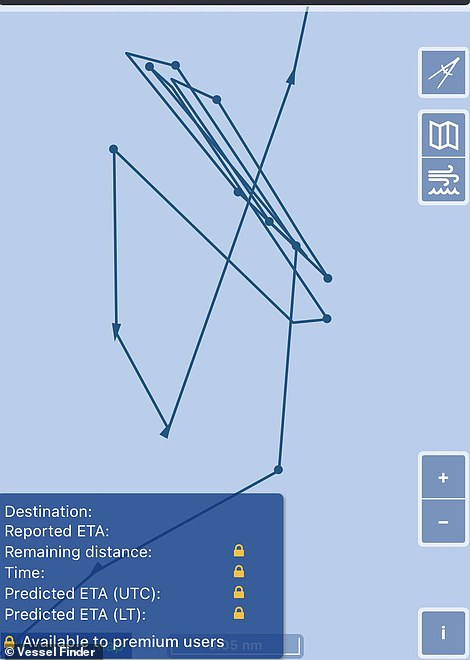 A more zoomed in version shows how the ship has made a number of zig-zag movements