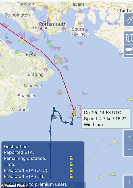 The vessel was due to be heading to Southampton
