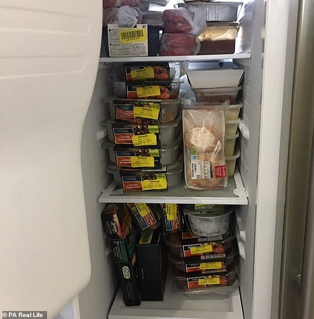 Liane said yellow sticker shopping requires 'stalking' supermarkets to find out when they usually reduce the price of their foods. Pictured: Liane's freezer