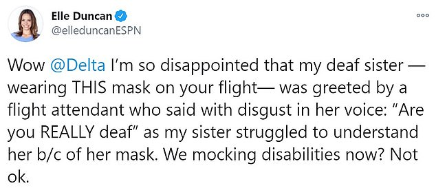 Duncan's sister, ESPN journalist Elle Duncan, tweeted angrily about the incident