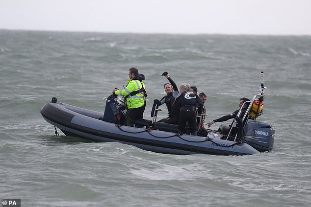 Despite reaching speeds of up to 75mph as plunged into the waters, Mr Bream said he did not need to wear a protective box for the stunt