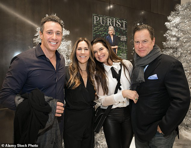 Cuomo was reportedly with Brooke Shields' husband Chris Henchy. They are shown with their wives in 2017