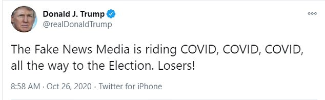 The tweet from the president came just two hours after one of his trademark posts railing against the 'fake news' for the bias against him and his response to the coronavirus pandemic
