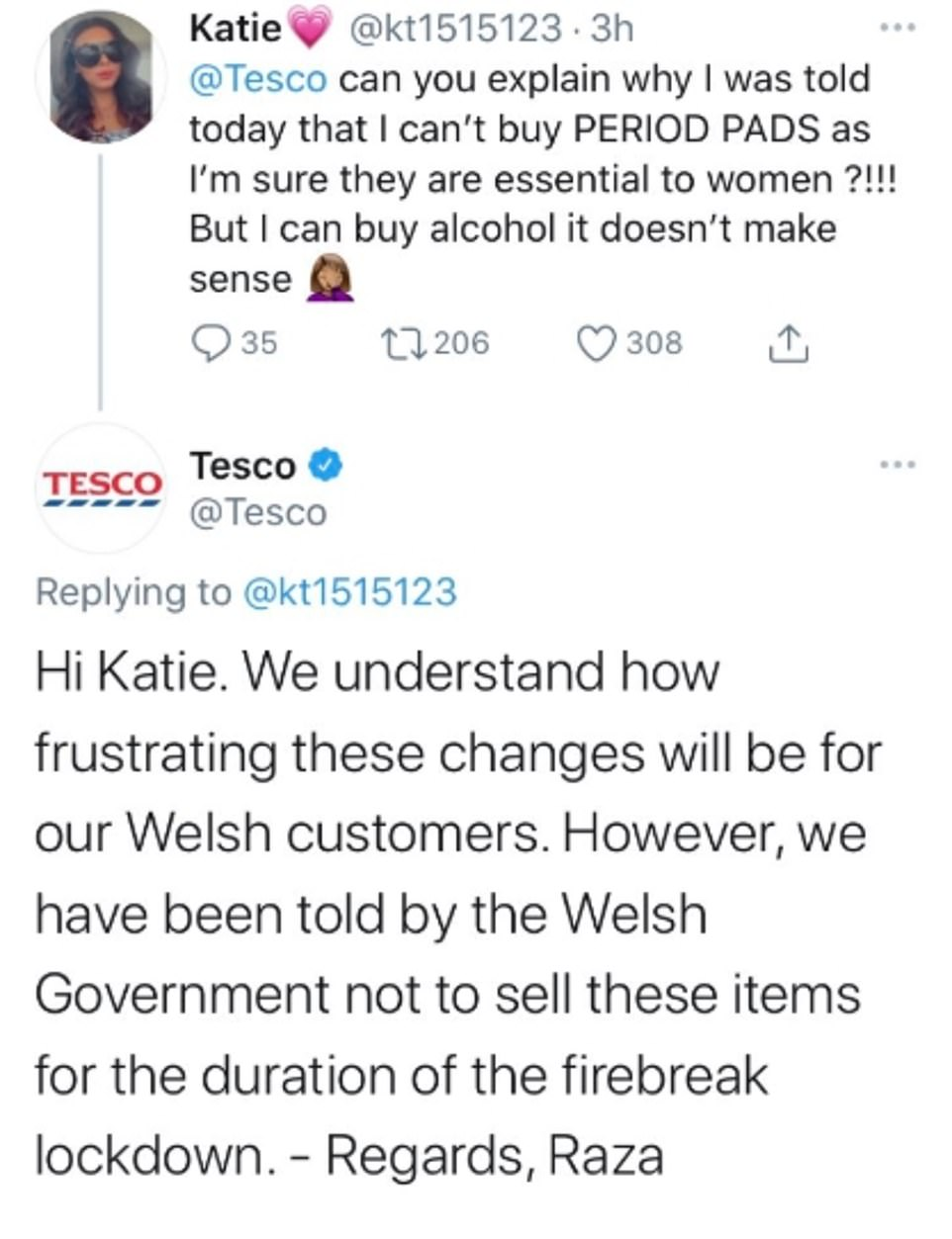Tesco told a shopper called Katie that the items could not be solder under Welsh rules, sparking widespread online outrage