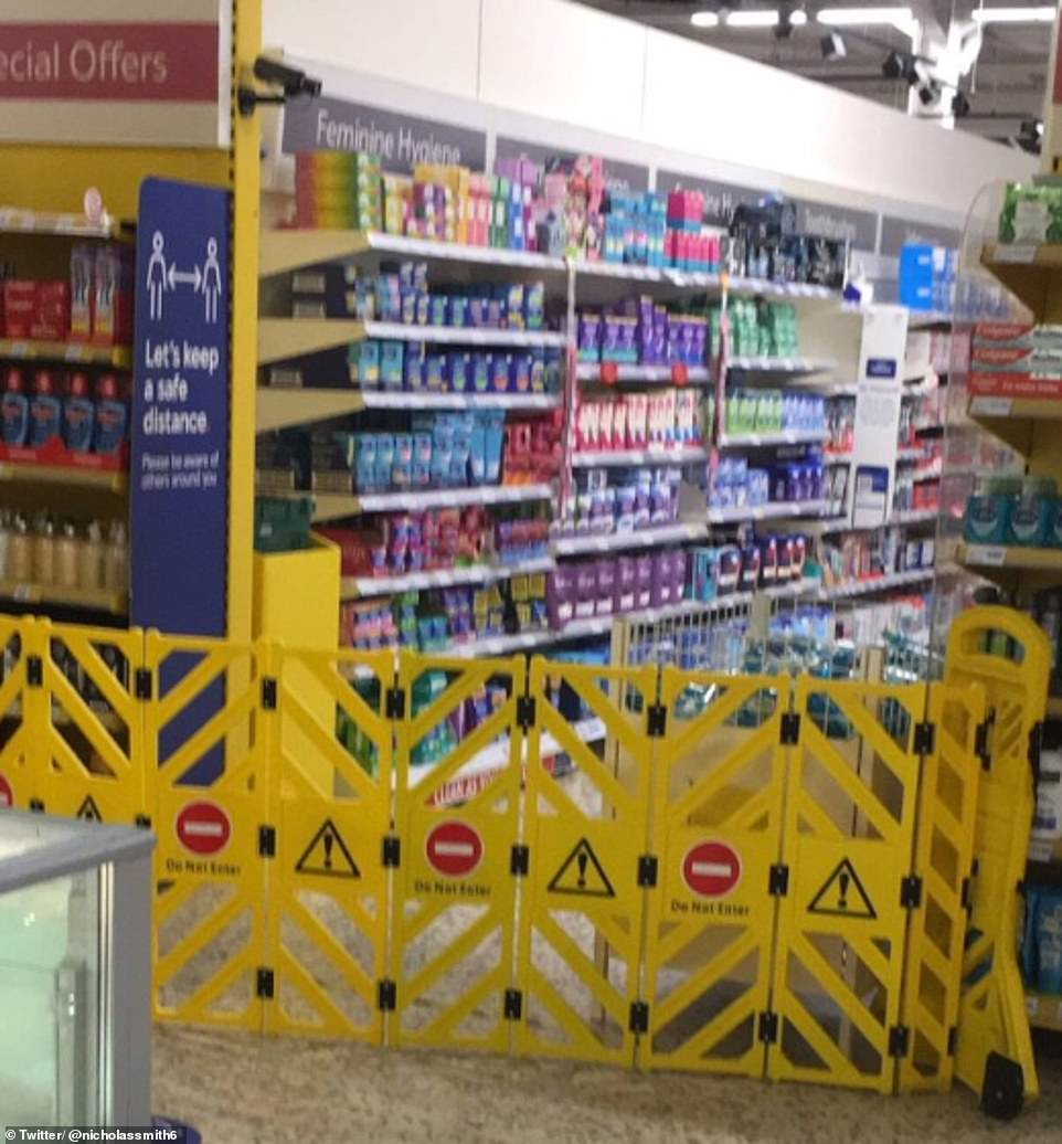 There were barriers also in place which stopped customers from accessing the isles where the items were being displayed