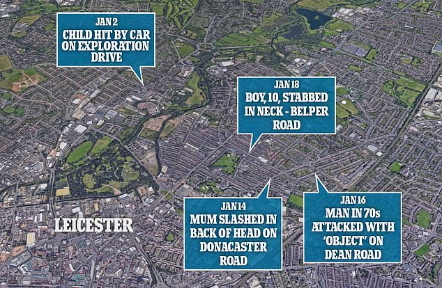 A map showing the incidents dotted around the Leicester area over a 16-day period