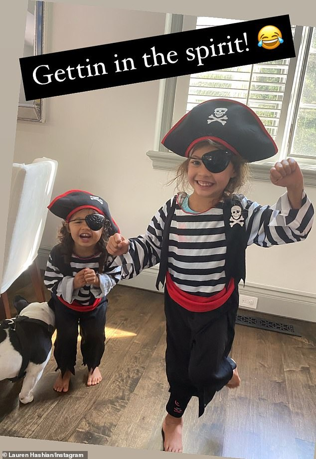 'Getting in the spirit!' On Sunday, the half-Black, half-Samoan action star's second wife - singer Lauren Hashian - Instastoried a cute snap of Jazzy and their two-year-old daughter Tiana Gia wearing pirate Halloween costumes