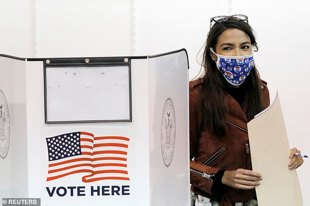 The Congresswoman, pictured voting on Sunday, graduated from Boston University in 2011