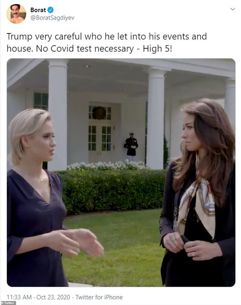 The Borat character posted footage of actressMaria Bakalova, who plays his daughter in Borat 2, being interviewed by OAN's Chanel Rion at the White House. A Marine stationed behind them indicates that the president was in the West Wing